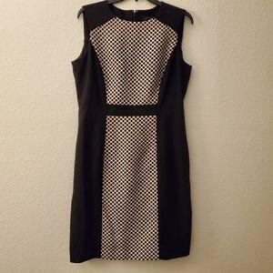 Tahari Blk & Tan Polka Dot Dress Sz 10